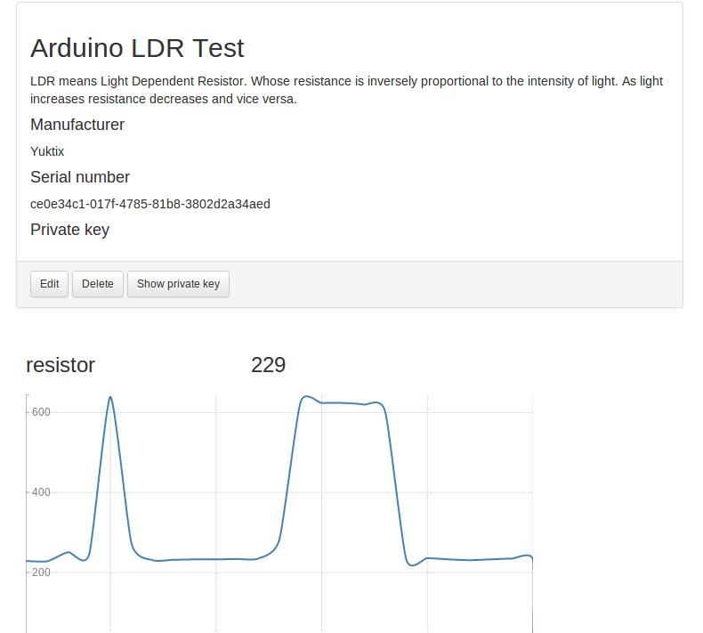 Yuktix Arduino LDR sample